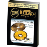 Dollar Size Shell Chinese Coin (Yellow) by Tango Magic (CH026)