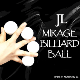 Two Inch Mirage Billiard Balls by JL (WHITE, 3 Balls and Shell) - Trick